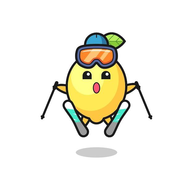 스키 선수로서의 레몬 마스코트 캐릭터, 티셔츠, 스티커, 로고 요소를 위한 귀여운 스타일 디자인