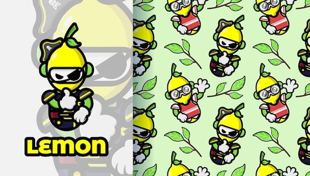 Лимонный талисман бесшовные модели