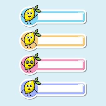 Lemon name tag cute character logo