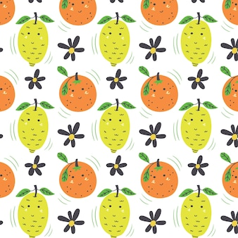 Lemon and orange pattern. fruit seamless yellow green vector background
