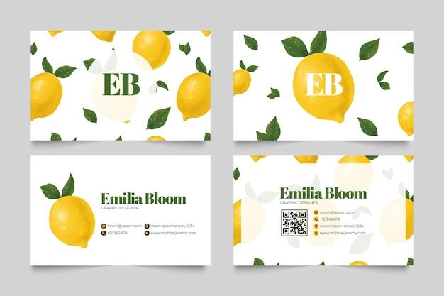 Визитная карточка с рисунком лимона