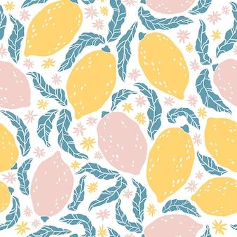 Лимонный узор. бесшовный фон с рисованной цитрусовые и цветы. карикатура иллюстрации в простом плоском скандинавском стиле. идеально подходит для ткани, текстиля, упаковки, дизайна кухни.