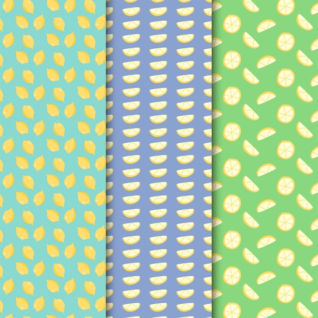 Lemon pattern set on colorful design