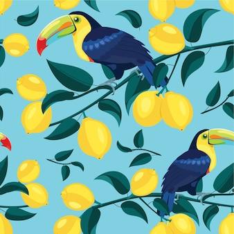 オオハシのシームレスなテクスチャーとレモンパターン