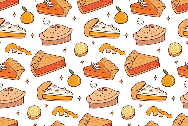 Lemon pie seamless pattern