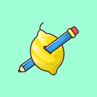 A lemon pierced by a pencil