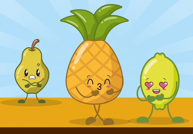 Lemon, pineapple and pear smiling in kawaii style.