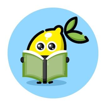 책을 읽고 있는 레몬 귀여운 캐릭터 로고