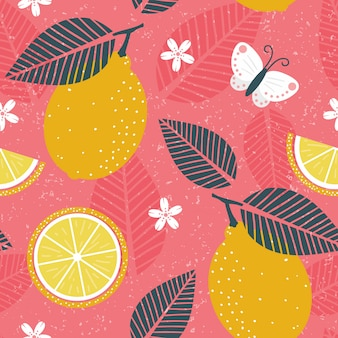Lemon repeating patten with grunge effect