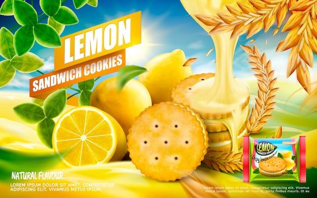 Lemon sandwich cookies ad illustration