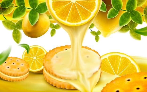 Lemon sandwich cookies elements illustration