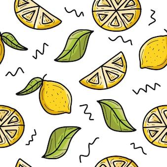 Lemon seamless pattern background