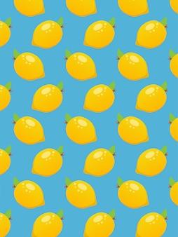 Lemon seamless pattern on blue