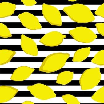 ストライプの背景にレモンのシームレスなパターン。