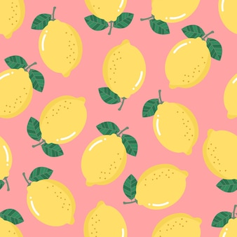 Lemon seamless pattern. organic health fruit background.