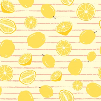Lemon seamless pattern on stripe