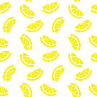 Лимонный бесшовный узор, текстура с ломтиками свежих фруктов