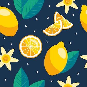 レモンのシームレスパターン。トレンディな夏の背景。生地や壁紙の明るいプリントをベクトルします。