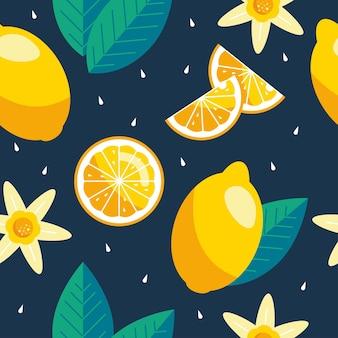 レモンのシームレスなパターン。トレンディな夏の背景。生地や壁紙の明るいプリントをベクトルします。