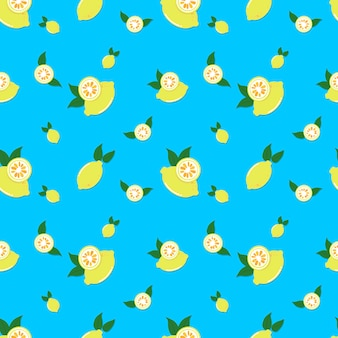 Lemon seamless pattern vector.