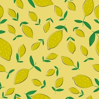 黄色の背景の葉とレモンのシームレスなパターン。柑橘系の果物のコレクションとのシームレスなパターン。生地、テキスタイルプリント、包装紙、子供用テキスタイルの夏のデザイン。ベクトルイラスト