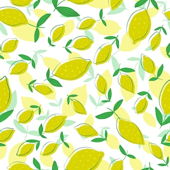 Lemon seamless pattern with leaves. seamless pattern with citrus fruits collection.