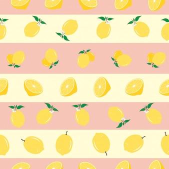 Лимонный бесшовный полосатый рисунок