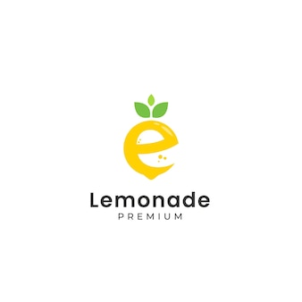 Lemon shaped letter e logo with text under it template