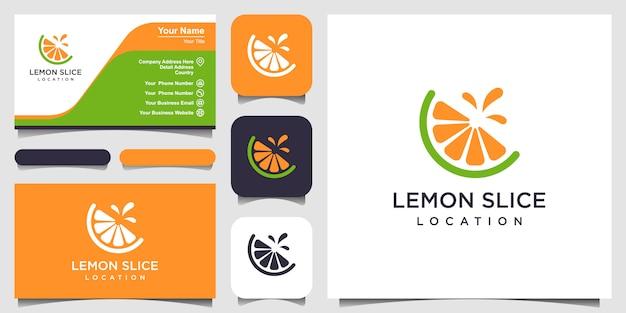 Лимонный ломтик цитрусовых плоский логотип и дизайн визитной карточки