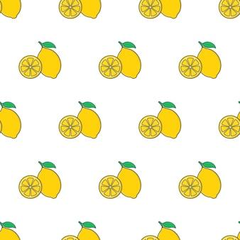 白い背景の上のレモンスライスシームレスパターン。レモンのテーマのベクトル図