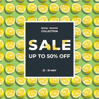 Lemon slice texture. summer 50% sale banner template design. big sale special offer