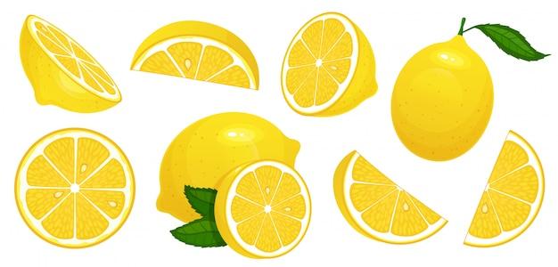 Ломтики лимона свежие цитрусовые, половина нарезанные лимоны и нарезанный лимон изолированных мультфильм иллюстрации набор