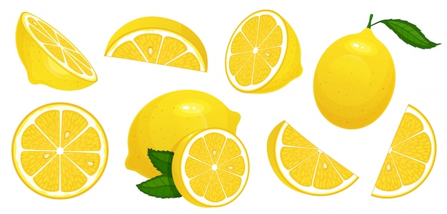 Lemon slices. fresh citrus, half sliced lemons and chopped lemon isolated cartoon  illustration set