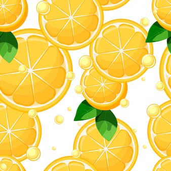 Lemon slices and halves with leaves and bubbles seamless pattern