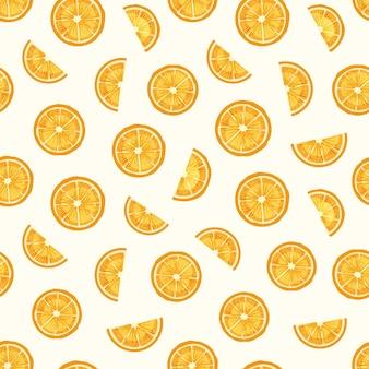 레몬 조각 손으로 그려진 된 완벽 한 패턴. 맛있는 오렌지 조각 텍스처