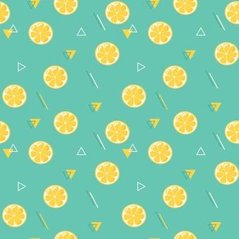 レモンスライスシームレスパターン。背景、メニュー、パッケージデザイン、装飾、包装紙、壁紙、テキスタイル、ファブリックのフラットスタイルの抽象的な幾何学的な装飾。プレミアムベクトル