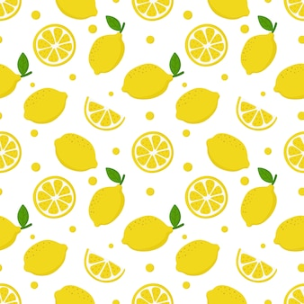 Lemon slices seamless pattern on white. fruit citrus