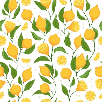 Lemon slices and whole fruits seamless pattern.