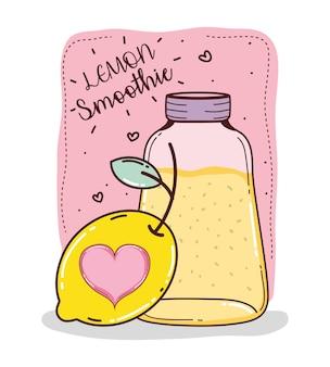 Lemon smoothie mason jar cartoon