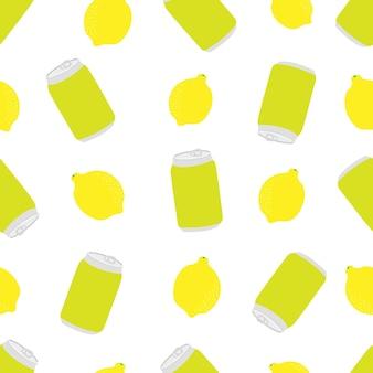 Lemon and soda can citrus juicy seamless pattern orange sweet yellow jar pattern bright fruit