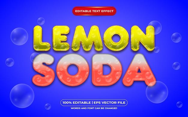 Редактируемый текстовый эффект лимонной соды в жидком стиле