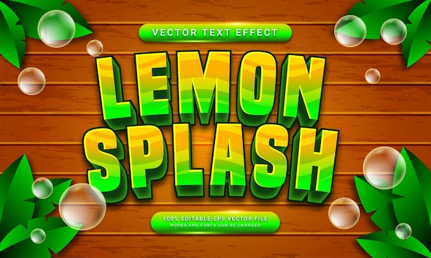 Lemon splash editable text style effect themed natural fruit