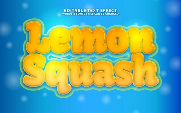레몬 스쿼시 편집 가능한 texf 효과