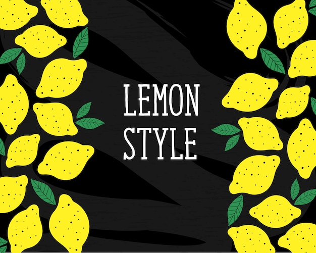 Lemon style vector illustration minimalism yellow chalkboard