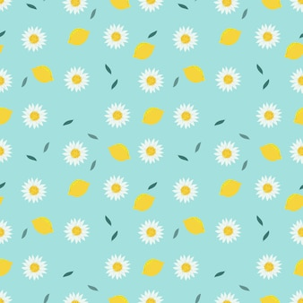 Lemon and sweet white flower seamless pattern.