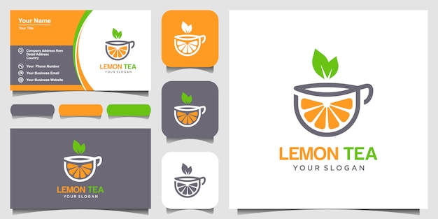 Lemon and tea cup abstract  logo and business card design