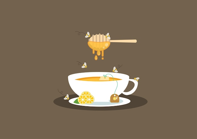 Lemon tea and honey vector