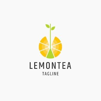 Лимонный чай логотип значок плоский дизайн шаблона иллюстрация