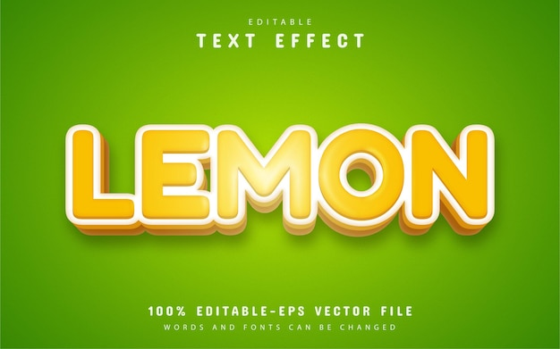 Лимонный текстовый эффект мультяшном стиле