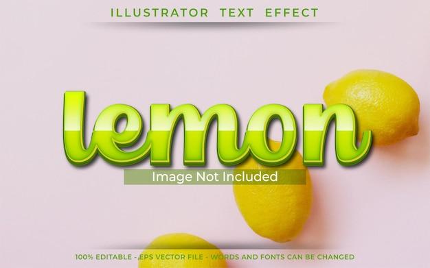 Лимонный текстовый эффект, редактируемый стиль 3d текста